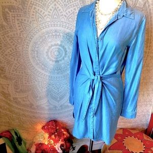🌀Chambray knotted button down shirt dress